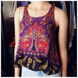 Patrons of Peace Paisley Floral Envelope Back Tank